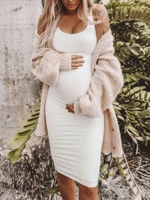 White Pleated Deep V-neck Spaghetti Strap Bodycon Maternity Midi Dress