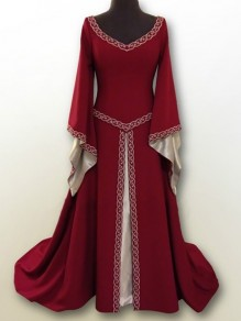 Red Embroidery V-neck Long Sleeve Classic Festival Maxi Dress