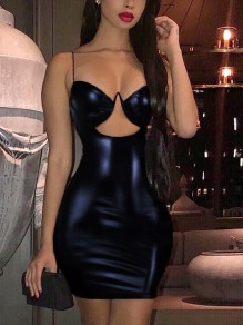 Black Cut Out Spaghetti Strap Bodycon PU Leather Latex Bubble Vinly Party Clubwear Mini Dress