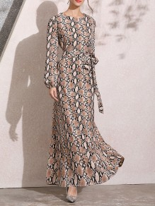Brown Floral Tribal Snakeskin Print Round Neck Lantern Long Sleeve Elegant Prom Maxi Dress