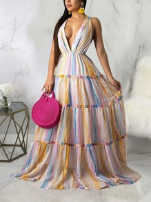 White Rainbow Striped Pleated Deep V-neck Bohemian Boho Beachwear Maxi Dress