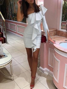 White Striped Cascading Ruffle One Shoulder Irregular Long Sleeve Bodycon Fashion Mini Dress