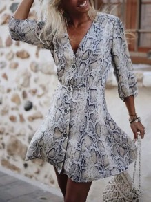 Khaki Floral Snakeskin Pattern Print Draped Single Breasted V-neck Long Sleeve Fashion Mini Dress