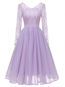 Purple Patchwork Embroidery Lace V-neck Grenadine Flowy Bridesmaid Midi Dress