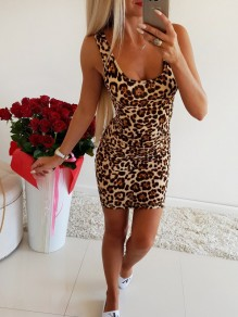 Leopard Print U-neck Fashion Mini Dress