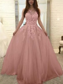 Pink Patchwork Lace Grenadine V-neck Party Prom Wedding Maxi Dress