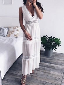 White Patchwork Lace Deep V-neck V-Back Big Swing Beach Going out Boho Maxi Dress