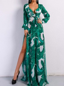 Green Palm Leaf Print Ruffle Sashes Deep V-neck Long Sleeve Bohemian Maxi Dress