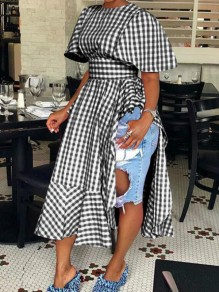 Black-White Plaid Ruffle Irregular High Waisted Half Sleeve Plus Size Casual Maxi Dress