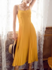 Yellow Mustard Pleated Lace up Spaghetti Strap Ladies Backless Summer Maxi Dress