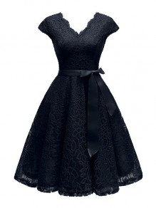 Black Lace Sashes Cocktail Party V-neck Elegant Midi Dress