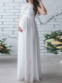 White Draped Sashes Chiffon Round Neck Sleeveless Elegant Maternity Dress