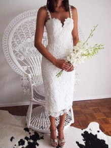 White Lace Zipper Slit Spaghetti Strap Bodycon Cocktail Party Elegant Midi Dress
