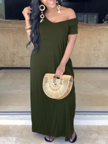 Army Green Pockets Off Shoulder Half Sleeve Oversized Casual Maxi Dress