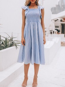 Sky Blue Striped Print Ruffle Pleated Fashion Midi Dress