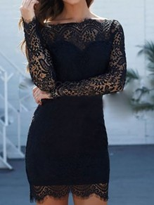 Black Lace Off Shoulder Backless Bodycon Long Sleeve Elegant Homecoming Party Mini Dress
