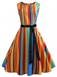 Rainbow Striped Bow Zipper Round Neck Sleeveless Homecoming Party Cute Mini Dress
