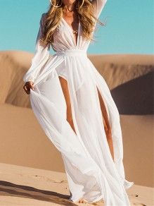 White Double Slit Long Sleeve Deep V-neck Beachwear Cover-Up Bohemian Maxi Dress