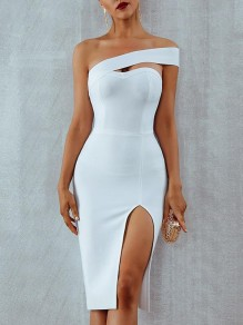 White Cut Out Asymmetric Shoulder Slit Cocktail Party Midi Dress