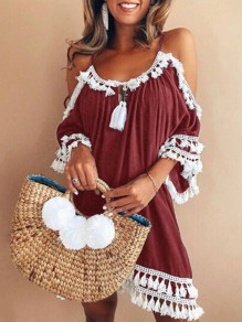 Red Tassel Cut Out Condole Belt Pleated V-neck Elbow Sleeve Bohemian Midi Dress