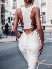 White Backless Round Neck Lace Up Bodycon Midi Dress