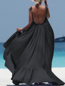 Black Ruffle Draped Backless Spaghetti Strap Bohemian Maxi Dress