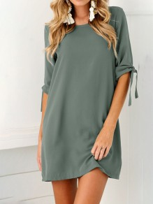 Green Belt Round Neck Short Sleeve Simple Casual Ladies Mini Dress