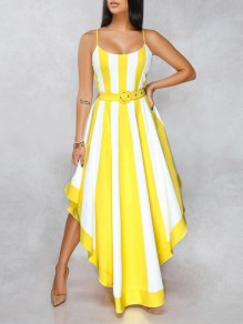 Yellow-White Striped Irregular Spaghetti Strap Backless Elegant Banquet Party Maxi Dress
