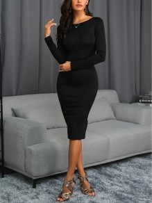 Black Print Round Neck Long Sleeve Backless Bodycon Fashion Midi Dress