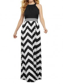 Black-White Striped Patchwork Cut Out Halter Neck Round Neck Fashion Maxi Dress