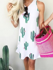 White Floral Cactus Print Condole Belt Irregular Round Neck Sleeveless Bohemian Midi Dress