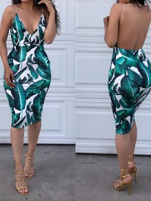 Green Palm Leaf Print Spaghetti Strap Backless Midi Dress