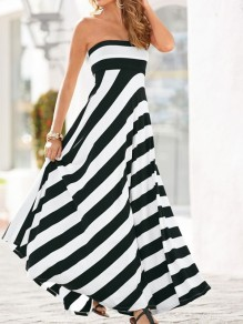 White-Black Striped Off Shoulder Sleeveless Big Swing Flowy Fashion Ladies Maxi Dress