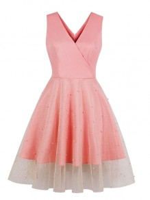 Pink Patchwork Grenadine Pearl V-neck Party Midi Dress