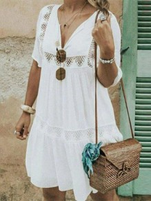 White Patchwork Cut Out V-neck Bohemian Mini Dress
