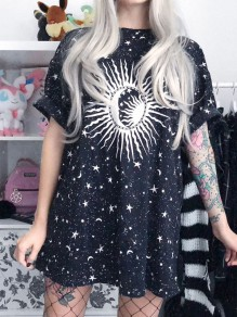 Black Floral Star Moon Galaxy Print Draped Round Neck Short Sleeve Fashion Mini Dress
