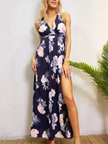 Blue Floral Print Thigh High Side Slits Backless Tie Back Summer Beach Maxi Dress