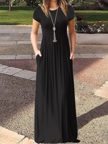 Black Pockets Short Sleeve Round Neck Loose Casual Ladies Maxi Dress