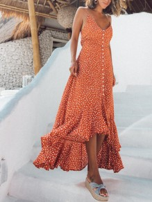 Orange Polka Dot Irregular Ruffle Spaghetti Strap Backless Flowy Bohemian Maxi Dress
