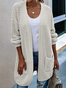 Beige Patchwork Pockets Ruffle Comfy V-neck Outdoors Cardigan?Sweater