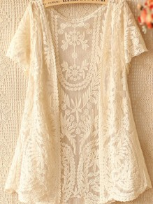 Beige Flowers Lace Hollow-out Sheer V-neck Gauze Crochet Embroidery Short Sleeve Cardigan