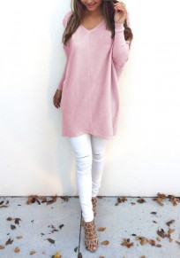 Pink Plain V-neck Long Sleeve Fashion Pullover Sweater