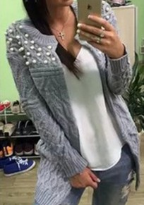 Grey Plain Pearl Long Sleeve Casual Cardigan Sweater