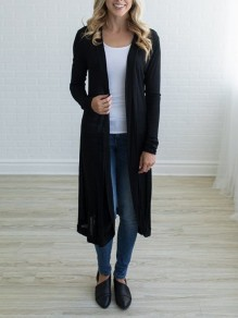 Black Plain Polyester Casual Cardigan Sweater
