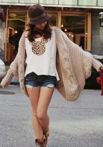 Gros gilet cardigan tricoté laine ouverte manche chauve souris femme décontracté khaki