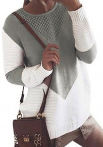 Grey Patchwork Irregular Round Neck Long Sleeve Casual Pullover Sweater