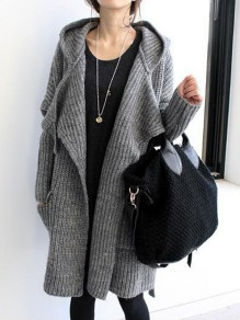 Grey Belt Pockets Waterfall Hooded V-neck Long Sleeve Thick Cardigan Sweater