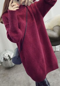 Wine Red Band Collar High Neck Long Sleeve Pullover Sweater