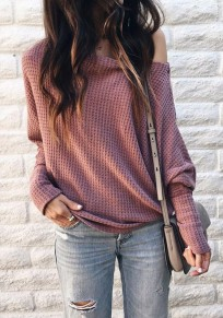 Dark Pink Asymmetric Shoulder Long Sleeve Casual Pullover Sweater
