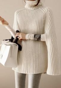 Weiß Rollkragen Fledermausärmel Poncho Mode Oversize Winter Cape Grobe Strickpullover Damen